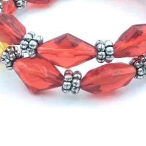 Red and Yellow Stretch Bracelets Stackable Beaded